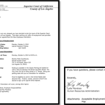 Superior Court of California County of Los Angeles Offer Letter