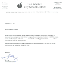 East Whittier City School District Offer Letter